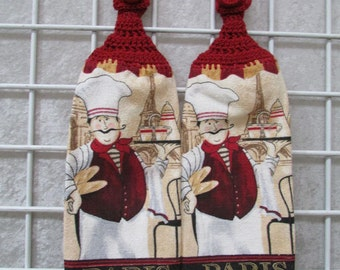 Pair of Paris Chef Button On Hanging Towels