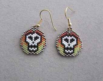 Flaming Skull Beaded Earrings