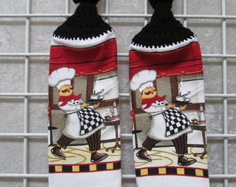 Pair of Chef Button-on Hanging Towels