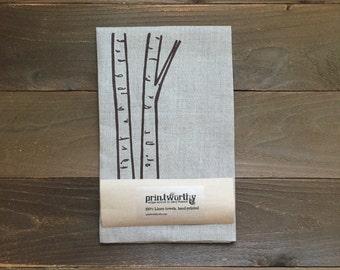 Tea Towel, Linen Dish Towel, Birch Tree Trunk Design, Screen Printed Kitchen Towel