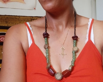 Sun necklace African beads
