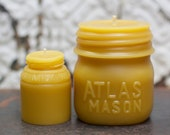 """Beeswax Candle Set - antique bottle shaped - """"Atlas Mason Jar - and -  Milk Weed Cream"""" - by Pollen Arts - Md. & Sm.."""