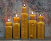 """Beeswax Candle Collection - antique bottle shaped - """"5 Squares"""" - by Pollen Arts - FREE Apothecaries"""