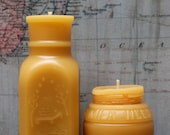 """Beeswax Candle Set - antique bottle shaped - """"4oz Honey and Milk weed Cream """" - by Pollen Arts - Md. & Sm.."""