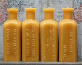 """Beeswax Candles - antique bottle shaped - (ONE CANDLE) """"Root Beer Extract"""" - by Pollen Arts - Md."""
