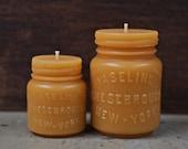 Beeswax Candle Set - Vaseline Jar -and- -New- Md. Vaseline . Sm & Md.