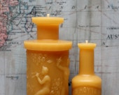"""Beeswax Candle Set - antique bottle shaped - """"Pan Perfume and Hoyt's Perfume"""" - by Pollen Arts - Md & Mini."""