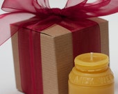 Gift Wrapped - Beeswax Candle - Sm. Milk Weed Cream Jar - by Pollen Arts -