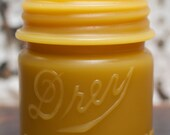 "Beeswax Candle - ""Drey Mason Jar 1/2 Pint"" - by Pollen Arts"