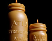 NEW Beeswax Candle Set - XL Atlas Mason and Md. Atlas 1/2 Pint.  (Both Candles) - Bottle/ Jar Shaped. 1900's Lg.