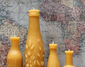 """Beeswax Candle Collection - antique bottle shaped - """"French, Lime Juice Md and Mini and FREE Hoyt's"""" - by Pollen Arts -"""