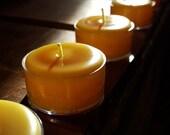 5  -  Pure 100 % Beeswax Tea Lights - Handmade by Pollen Arts