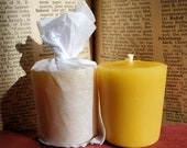 Six Handmade Beeswax Votives - Made in America - 100% Beeswax Non Cored Wicks