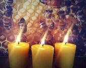Three Handmade Beeswax Votives - Made in America - 100% Beeswax