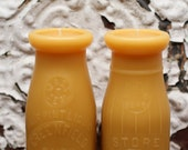Beeswax Candle Set - Two Dairy 1/2 Pint Bottles - 1930's