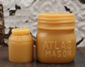 """Beeswax Candle Set - antique bottle shaped - """"Atlas Mason Jar and Milk Weed Cream """" - by Pollen Arts - Md. & Sm.."""