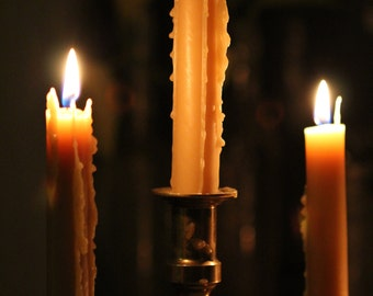 Twelve hand dipped 100% BEESWAX Victorian-style taper candle sticks