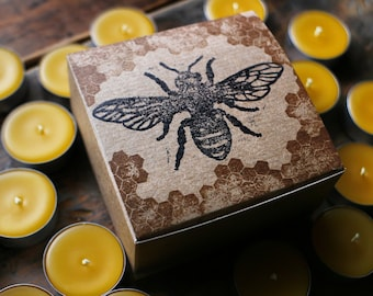 SALE - 18 Beeswax Tea Light BOX SET ! Custom Hand-Stamped Bee & Honey Comb