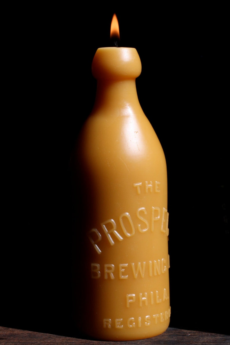 Prospect Brewing 1900/'s Lg. NEW Beeswax Candle Bottle Jar Shaped