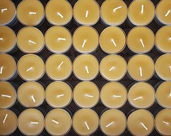 150 Beeswax Tea Lights -  ; ) NON-Parrifin Dipped & NON-metal cored Wicks ( 72 cents each )