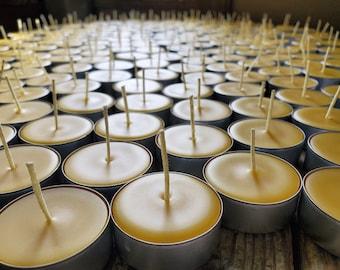 Bulk Beeswax Tea lights 100% Beeswax non-metal cored wicks non-paraffin dipped wicks Qt - 40/ 50/ 75/ 100 / 150