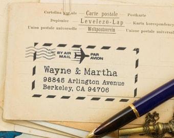 Personalized Address Stamp, Custom Return Address Stamp, Airmail Graphic Address Stamper,  DIY Printing, Typewriter Text, International Mail