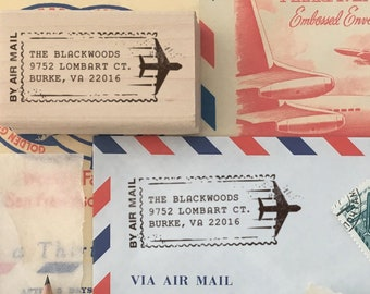 Airmail Return Address Stamp, Personalized Address Stamp, Custom Address Stamp, Housewarming, Personalized Gifts, Air Mail, Postal Address