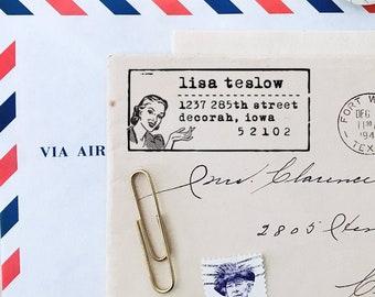 Retro Address Stamp, Personalized Address Stamp, Custom Address Stamp, Retro Woman, Lady Stamp, Housewarming Gifts, Home Address Stamp, DIY