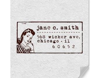 Address Stamp, Return Address Stamp, Personalized Stamp, Girl Stamp, Woman Stamp, Retro Return Address Stamp, Housewarming, Typewriter, Fun