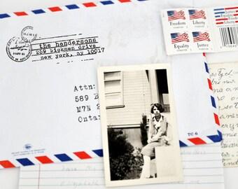 Personalized Return Address Stamp, Custom Address Stamp, Airmail, Typewriter Font, Vintage Style, Airmail Postal Stamp, Housewarming Gifts