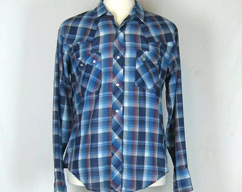Vintage Super Thin Western Style Snap Button Shirt