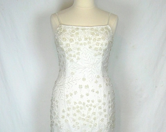 Size 12 Vintage 90's Beaded Eggshell Wedding Gown