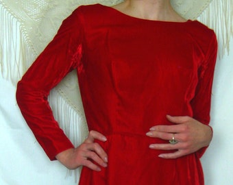 Vintage Red Velvet Party Dress