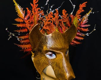Forest Spirit Autumn Wolf Mask - Handmade Leather Masquerade Mask -Floral Crown Renaissance Fairy Elf Forest King Mother Nature