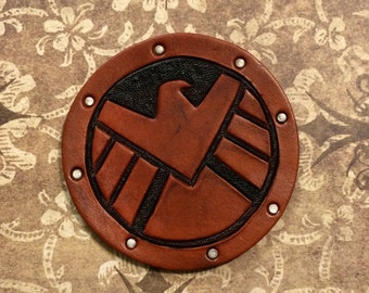 Handcrafted Leather SHIELD Patch 3 Inches - Made to Order