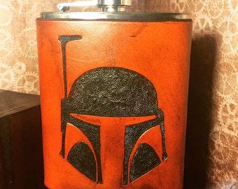 Boba Fett Leather Flask Handcrafted Star Wars Fandom - 8oz Stainless Steel Flask - MADE TO ORDER