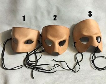 Blank Leather Masquerade Mask - 3 Different Styles - Raw Leather to Paint yourself or Select a Base Stain to Build Upon. Renaissance LARP