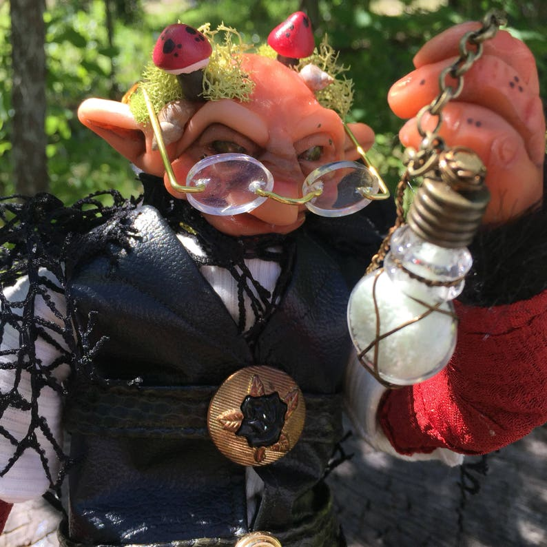 Alchemist Fae Folk  OOAK Posable Elf Art Doll Sculpture  image 0