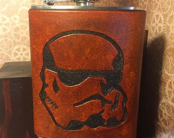 Stormtrooper Leather Flask Handcrafted Star Wars Fandom - Stainless Steel Flask - MADE TO ORDER - Custom Colors, 6oz & 8oz