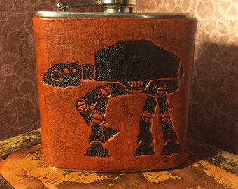 AT-AT Leather Flask Handcrafted Star Wars Fandom - 6oz Stainless Steel Flask Made to Order
