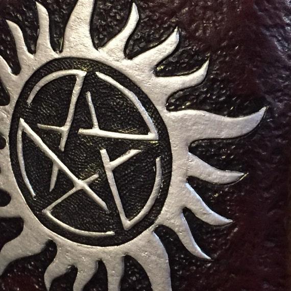Supernatural Anti Possession Symbol Flask On Mahogany Leather Etsy