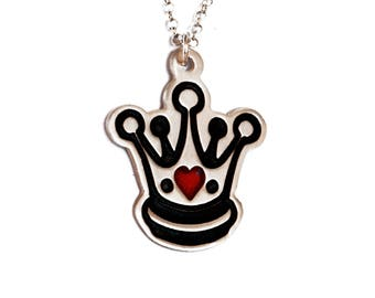 SALE 20 OFF% Silver Crown Necklace /Queen of Hearts Necklace/Royal Jewelry/Gift for Her/Royal Crown Necklace/Tiara Necklace/Cute