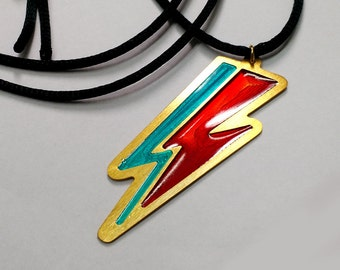 David Bowie Thunderbolt Necklace /Lightning Bolt Necklace/Ziggy Stardust Necklace/Thunder Pendant/Music jewellery/Engraved Enamel Necklace