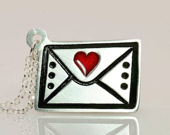 Love Letter Necklace/Letter Pendant/Silver Envelope Necklace/Envelope Charm/Heart Letter Necklace/Love Letter Jewelry/Enamel Jewelry/Writing
