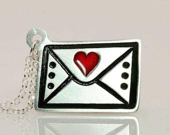 Love Letter Necklace/Letter Pendant/Silver Envelope Necklace/Envelope Charm/Heart Letter Necklace/Love Letter Jewelry/Enamel Jewelry/Writing