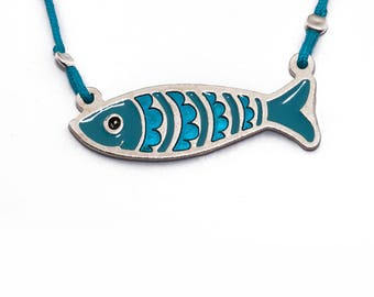 Sardine Necklace / Fish Necklace / Fish Jewelry/ Animal Jewelry  / Summer Jewelry/ Souvenir/ Greek design /Greek Chic/Greek product/ Codfish