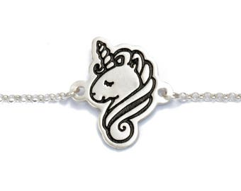 Silver Unicorn Bracelet /Silver Unicorn Charm/Engraved Silver Charm/Unicorn Jewelry/Kawaii Bracelet/ Animal Jewelry/ Romantic Gift/ Cute