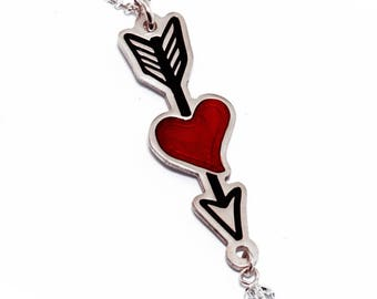 Lovestruck Arrow Necklace/Arrow Pendant/Silver Arrow/Arrow Charm/Heart Arrow Necklace/Lovestruck arrow/In Love Necklace/Eros jewelry/Enamel
