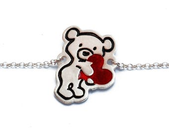 Silver Teddy Bear Bracelet /Teddy Bear Charm/Engraved Silver/Friendship Jewelry/Teddy Bear Jewelry/ Animal Jewelry/ Valentine's Day Teddy
