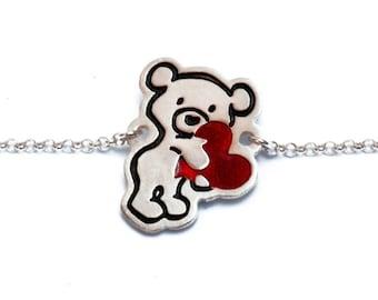 Silver Teddy Bear Bracelet /Teddy Bear Charm/Engraved Silver/Friendship Jewelry/Teddy Bear Jewelry/ Animal Jewelry/ Valentine's Day Teddy